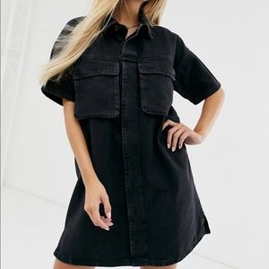 🆕ASOS denim boxy oversized shirt dress in black